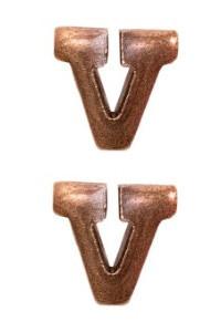 "Ribbon Attachment Letter  V - 1/4"" - bronze - pair"