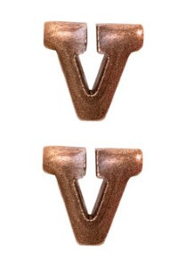 "Ribbon Attachment Letter  V - 1/4"" - bronze - pair"