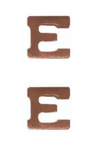 Ribbon Attachment Letter E - bronze - pair
