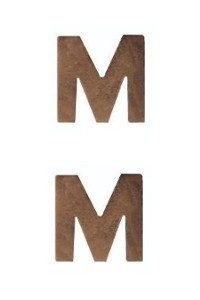 Ribbon Attachment Letter M - bronze - pair