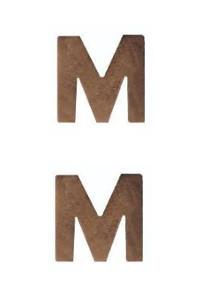 Ribbon Attachment Letter M - bronze - pair