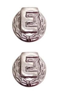 Ribbon Attachment Letter E – The Navy E Ribbon w/ wreath- silver - pair