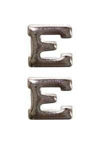 Ribbon Attachment Letter E - large - silver - pair