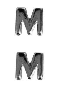 Ribbon Attachment Letter M -  silver - pair