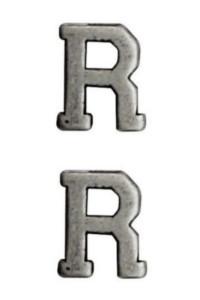 "Ribbon Attachment Letter R - 1/4"" - silver - pair"