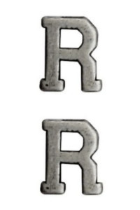 "Ribbon Attachment Letter R - 1/4"" - silver - pair"