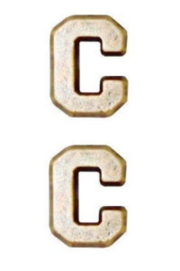 "Ribbon Attachment Letter C - 1/4"" - gold - pair"