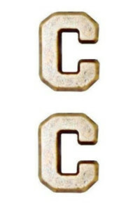 "Ribbon Attachment Letter C - 1/4"" - gold - pair"