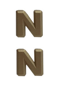 """Ribbon Attachment Letter N - 1/4"""" - brass - pair"""
