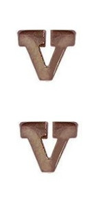 Miniature Medal Attachment Letter V – bronze – pair