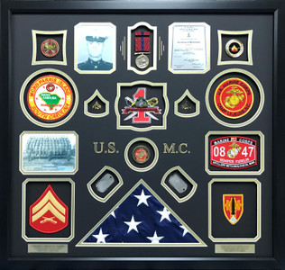 U.S.M.C  Scribed Shadow Box Display Frame