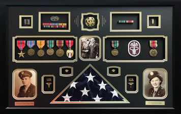 World War II Couple Shadow Box Display