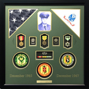 Double Flag Vietnam Veteran Shadow Box Display
