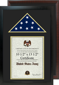 "16"" x 24"" Retirement Certificate Frame w/ Top Flag Shadow Box"