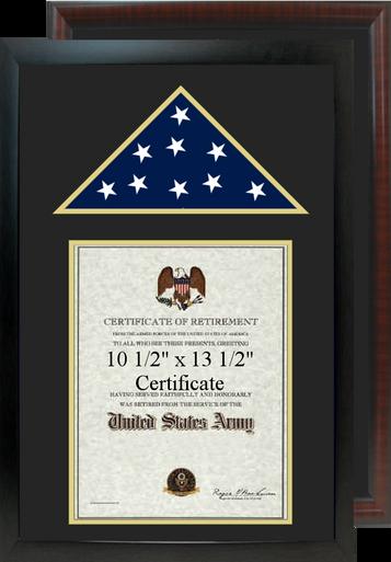 "16"" x 24"" Retirement Certificate Frame w/ Top Flag Shadow Box"