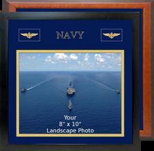 """13"""" x 13"""" Navy Breast Badges Landscape Photo Frame"""
