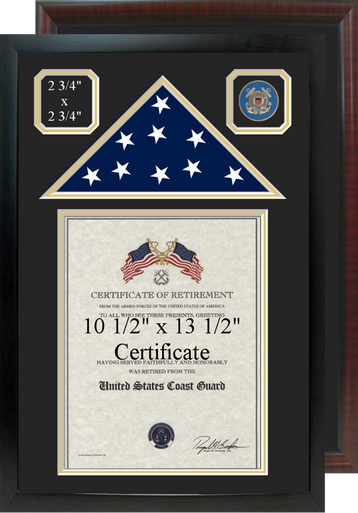 """16"""" x 24"""" Retirement Certificate Frame w/ Top Flag Shadow Box and Coin Windows"""