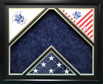 U.S. Coast Guard DYI Triple Flag Double Mat Shadow Box