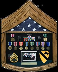 Army SSgt Rank Shaped Wood Shadow Box