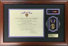 Purple Heart Certificate Frame with ribbons