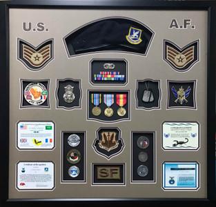 US Air Force Shadow Box Display with Beret