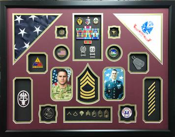 US Army Medical Retirement  Shadow Box Display