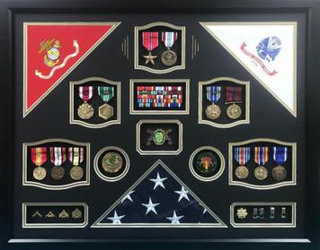 USMC Army Triple Flag  Shadow Box Display