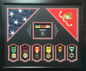 US Marine Corps Dual Flag Shadow Box Display