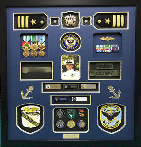 US Navy Officer Retirement Shadow Box Display