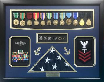 US Navy Medical Retirement Shadow Box Display