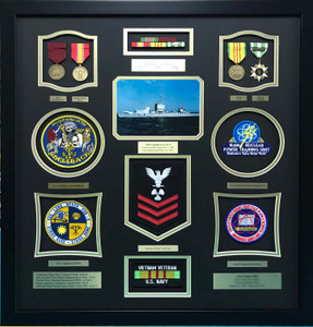 US Navy Vietnam Veteran Retirement Shadow Box Display