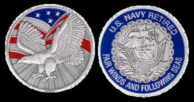 "Navy Coin: 1-3/4"" U.S. Navy Retired"