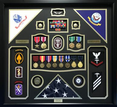 U.S. Army - U.S. Navy - Duel Service Shadow Box Display