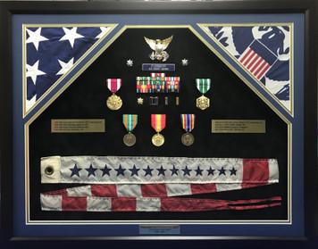 U.S. Coast Guard Double Flag Open Shadow Box Display