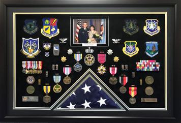 U.S. Air Force Retirement Open Shadow Box Display w/ Flag