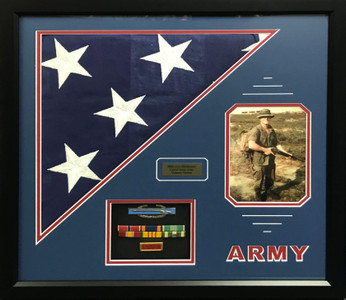 U.S. Army Shadow Box Display w/ Burial Flag