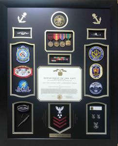 U.S. Navy Achievement  Shadow Box Display w/ Certificate