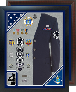 "30"" x  38"" Double Flag Uniform Shadow Box w/ Photo Window"