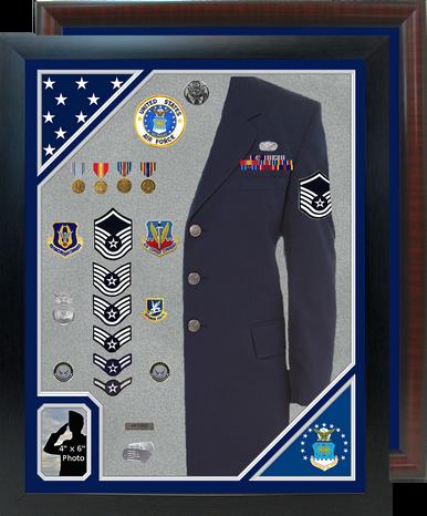 """30"""" x  38"""" Double Flag Uniform Shadow Box w/ Photo Window"""