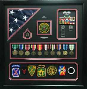 US Army Shadow Box Display with Corner Flag