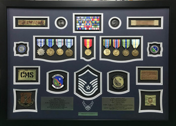 USAF MSgt Shadow Box Display with Scribed  Air Force Logo