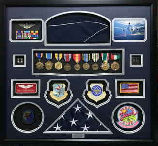 USAF Pilot Shadow Box Display with Dress Hat