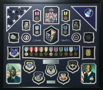 USAF MSgt Shadow Box Display with Double Flags