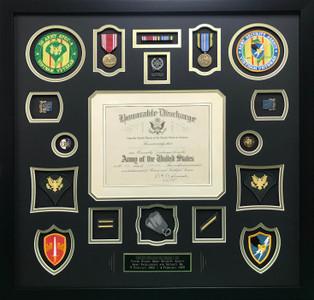 Vietnam Veteran U.S. Army Shadow Box Display Frame