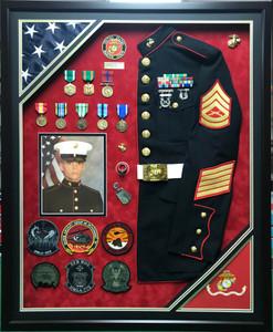 U.S.M.C. Uniform Shadow Box Display w/ Photo