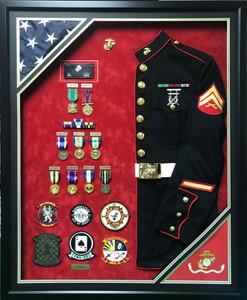 U.S.M.C. Uniform Shadow Box Display w/ Double Flags