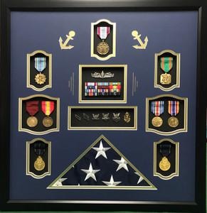 U.S. Navy Shadow Box with Flag