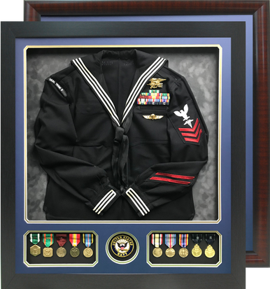 """29"""" x 32"""" Uniform Shadow Box with Branch Seal and Medal Windows"""