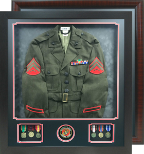 """29"""" x 32"""" Uniform Shadow Box with Medal Windows and  Branch Seal Window"""