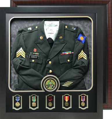"""29"""" x 32"""" Uniform Shadow Box with Individual Medal Windows and Branch Seal Window"""